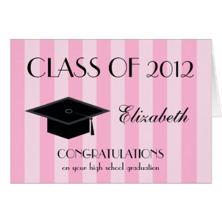High School Graduation Greeting Card -- Pink