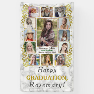 High School Graduation Party Photo Collage Marble Banner