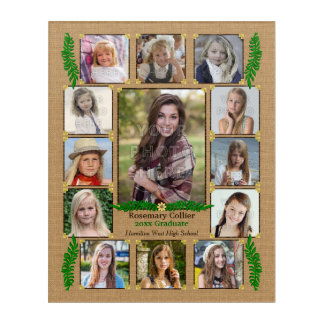 High School Graduation Photo Collage | Burlap Fern Acrylic Wall Art