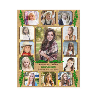 High School Graduation Photo Collage | Burlap Fern Canvas Print