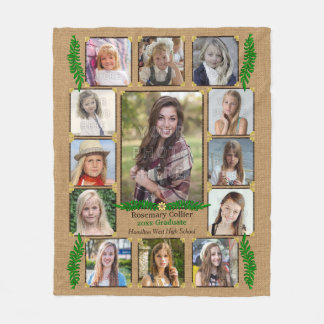High School Graduation Photo Collage | Burlap Fern Fleece Blanket