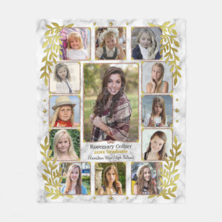 High School Graduation Photo Collage | Marble Gold Fleece Blanket