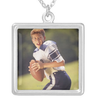 High school quarterback with football silver plated necklace