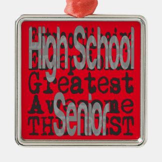 High School Senior Extraordinaire Silver-Colored Square Decoration