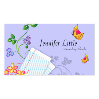 High School Teacher Business Card - Lined Paper