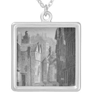 High School, Wynd, Edinburgh engraved by Square Pendant Necklace