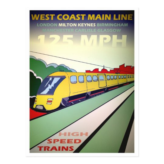 High Speed Train travel postcard