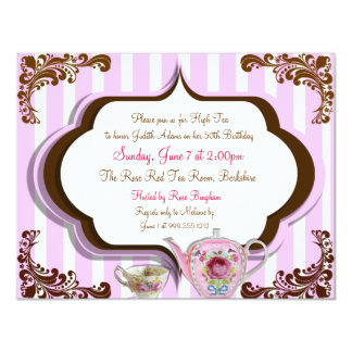 High Tea Birthday Invitations Front and Back