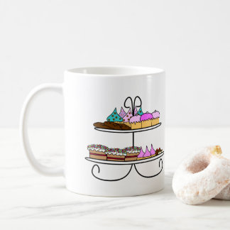 High tea - illustration with cup cakes and