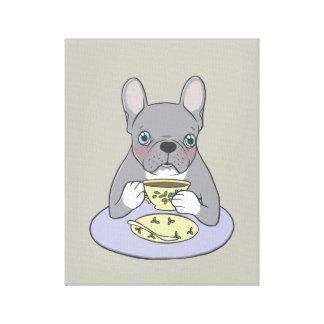 High Teas with Cute Blue Brindle Frenchie Canvas Print