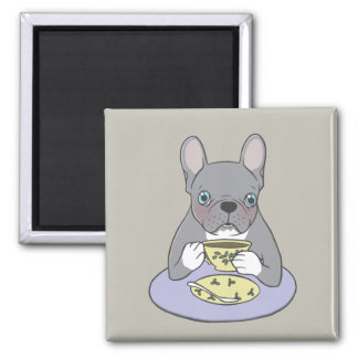 High Teas with Cute Blue Brindle Frenchie Magnet