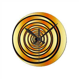 High tech metallic ring background round clock