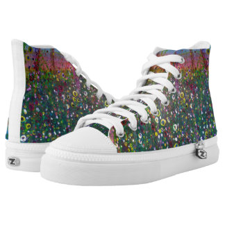 High top boots with wild flower meadow design