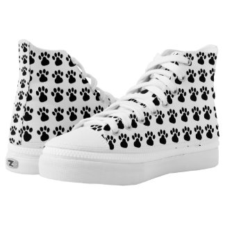 High Top Pet Paw Print Shoes for the Pet Lover Printed Shoes