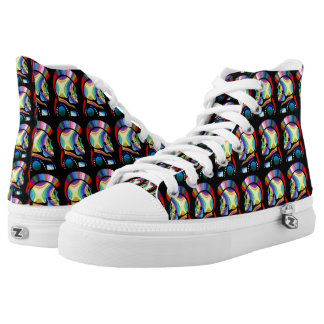 High top shoe skulls punk goth metal