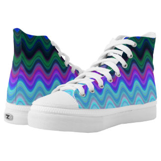 High Top Shoes Bluish Burried Waves Printed Shoes