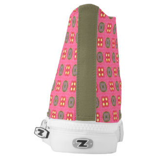 High top shoes pink pattern