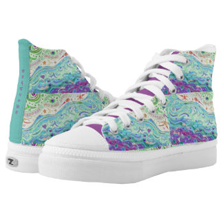 High Top Shoes - Seashore Art Design / with Print Printed Shoes