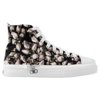 High Top Shoes, White Rose Printed Shoes
