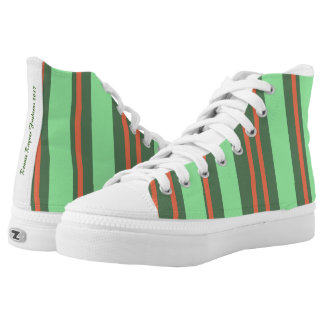 High Top Shoes with Green Vertical Bands