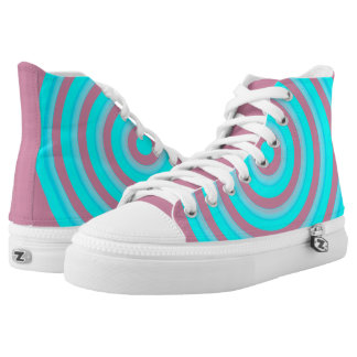 High Top Shoes with Light Blue Twirl Design Printed Shoes