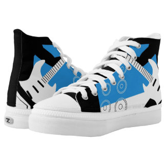 high top sneaker with guitar design printed shoes