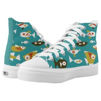 High top sneakers fish theme