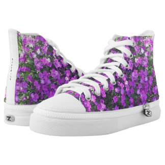HIGH TOP TENNIS SHOES - PRETTY PURPLE FLOWERS PRINTED SHOES