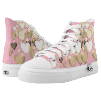 High Top ZIPZ® Sneakers designed-Pink and gold