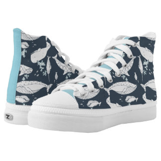 High-Top Zipz with Ocean Theme by idyl-wyld Printed Shoes