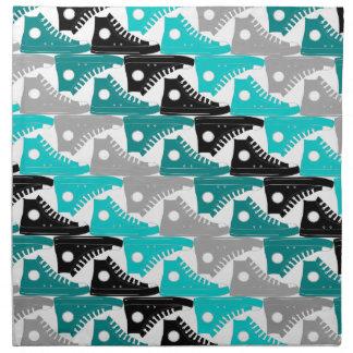 High Tops Teal-n-Black Shoes Printed Napkins