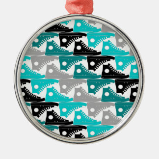 High Tops Teal-n-Black Shoes Round Metal Christmas Ornament