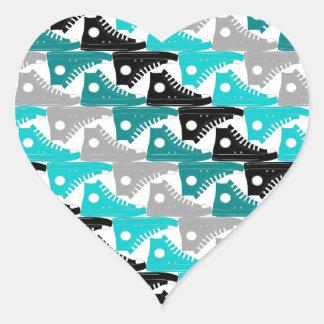 High Tops Teal-n-Black Shoes Heart Sticker