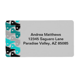 High Tops Teal-n-Black Shoes Shipping Label