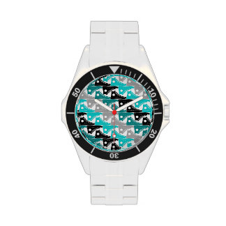 High Tops Teal-n-Black Shoes Watches