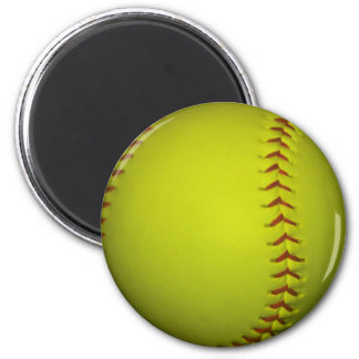 High Visibility Yellow Softball 6 Cm Round Magnet