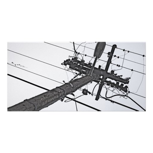 High Voltage - black and white industrial photo Photo Card Template