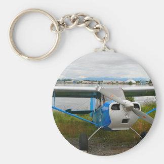 High wing aircraft, blue & white, Alaska Key Ring