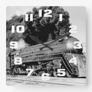 Highball It Vintage Speeding Locomotive Square Wall Clock