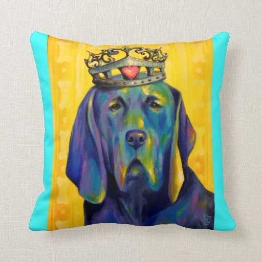 Highbrow Hound pillow, turquoise background