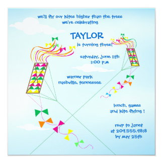 Higher  up - kites birthday invitations