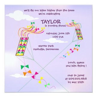 Higher  up - kites birthday invitations - 2
