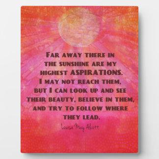 Highest Aspirations quote Louisa May Alcott Plaque
