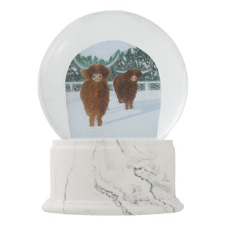Highland Cattle in Winter Snow Globe