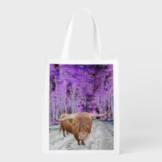 Highland cattle reusable grocery bag
