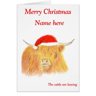 Highland Cow Christmas card, customisable Card