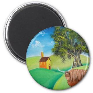 HIGHLAND COW FOLK ART 6 CM ROUND MAGNET