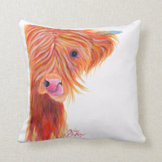 Highland Cow ' Ginger Cow Lick ' Pillow Cushion