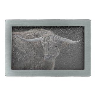 Highland cow photograph buckle rectangular belt buckles