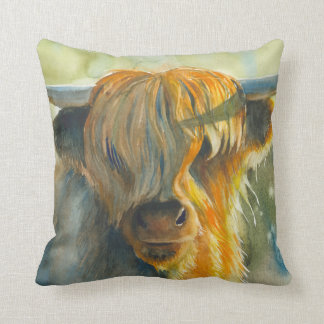Highland cow watercolor home decor pillow